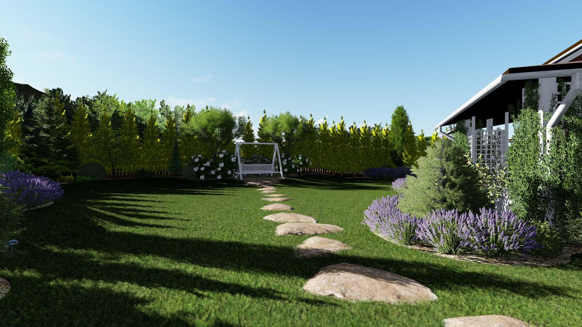 Ландшафтное проектирование территории участка в КГ Green hills