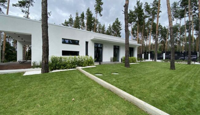 Рулонный газон вокруг дома